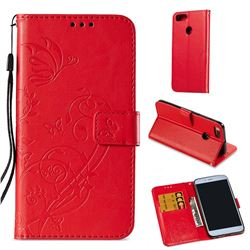 Embossing Butterfly Flower Leather Wallet Case for Xiaomi Mi A1 / Mi 5X - Red