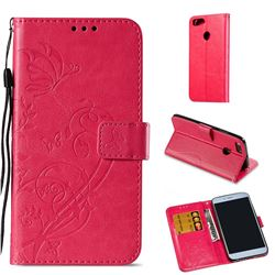 Embossing Butterfly Flower Leather Wallet Case for Xiaomi Mi A1 / Mi 5X - Rose