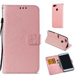 Embossing Butterfly Flower Leather Wallet Case for Xiaomi Mi A1 / Mi 5X - Pink