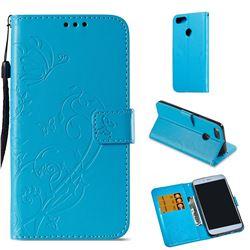 Embossing Butterfly Flower Leather Wallet Case for Xiaomi Mi A1 / Mi 5X - Blue