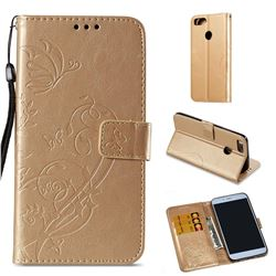 Embossing Butterfly Flower Leather Wallet Case for Xiaomi Mi A1 / Mi 5X - Champagne