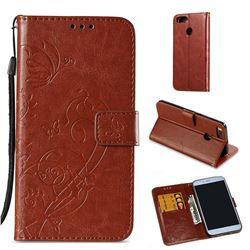 Embossing Butterfly Flower Leather Wallet Case for Xiaomi Mi A1 / Mi 5X - Brown