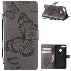 Embossing 3D Butterfly Leather Wallet Case for Xiaomi Mi A1 / Mi 5X - Gray