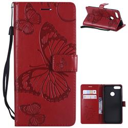 Embossing 3D Butterfly Leather Wallet Case for Xiaomi Mi A1 / Mi 5X - Red