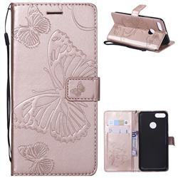 Embossing 3D Butterfly Leather Wallet Case for Xiaomi Mi A1 / Mi 5X - Rose Gold