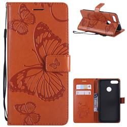 Embossing 3D Butterfly Leather Wallet Case for Xiaomi Mi A1 / Mi 5X - Orange
