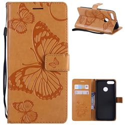 Embossing 3D Butterfly Leather Wallet Case for Xiaomi Mi A1 / Mi 5X - Yellow