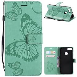 Embossing 3D Butterfly Leather Wallet Case for Xiaomi Mi A1 / Mi 5X - Green