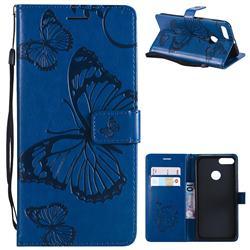 Embossing 3D Butterfly Leather Wallet Case for Xiaomi Mi A1 / Mi 5X - Blue