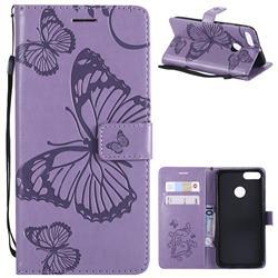 Embossing 3D Butterfly Leather Wallet Case for Xiaomi Mi A1 / Mi 5X - Purple