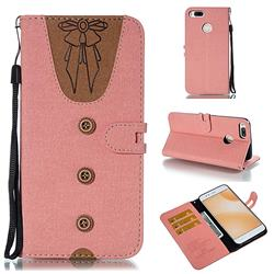 Ladies Bow Clothes Pattern Leather Wallet Phone Case for Xiaomi Mi A1 / Mi 5X - Pink