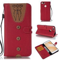 Ladies Bow Clothes Pattern Leather Wallet Phone Case for Xiaomi Mi A1 / Mi 5X - Red