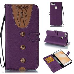 Ladies Bow Clothes Pattern Leather Wallet Phone Case for Xiaomi Mi A1 / Mi 5X - Purple