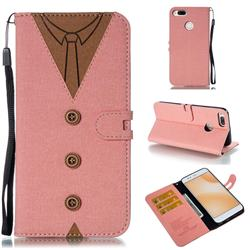 Mens Button Clothing Style Leather Wallet Phone Case for Xiaomi Mi A1 / Mi 5X - Pink