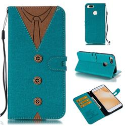 Mens Button Clothing Style Leather Wallet Phone Case for Xiaomi Mi A1 / Mi 5X - Green
