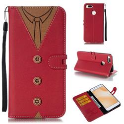 Mens Button Clothing Style Leather Wallet Phone Case for Xiaomi Mi A1 / Mi 5X - Red