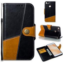 Retro Magnetic Stitching Wallet Flip Cover for Xiaomi Mi A1 / Mi 5X - Black