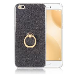 Luxury Soft TPU Glitter Back Ring Cover with 360 Rotate Finger Holder Buckle for Xiaomi Mi 5c - Black