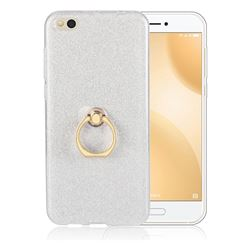 Luxury Soft TPU Glitter Back Ring Cover with 360 Rotate Finger Holder Buckle for Xiaomi Mi 5c - White