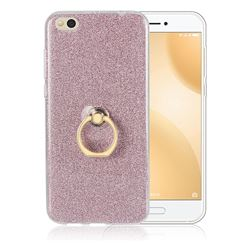 Luxury Soft TPU Glitter Back Ring Cover with 360 Rotate Finger Holder Buckle for Xiaomi Mi 5c - Pink