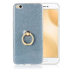 Luxury Soft TPU Glitter Back Ring Cover with 360 Rotate Finger Holder Buckle for Xiaomi Mi 5c - Blue