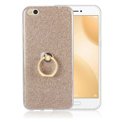 Luxury Soft TPU Glitter Back Ring Cover with 360 Rotate Finger Holder Buckle for Xiaomi Mi 5c - Golden