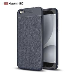 Luxury Auto Focus Litchi Texture Silicone TPU Back Cover for Xiaomi Mi 5c - Dark Blue