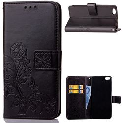 Embossing Imprint Four-Leaf Clover Leather Wallet Case for Xiaomi Mi 5c - Black