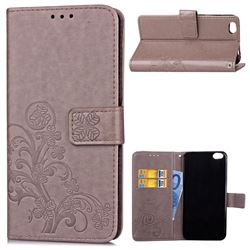 Embossing Imprint Four-Leaf Clover Leather Wallet Case for Xiaomi Mi 5c - Grey