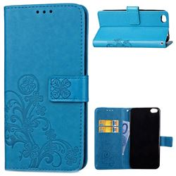 Embossing Imprint Four-Leaf Clover Leather Wallet Case for Xiaomi Mi 5c - Blue