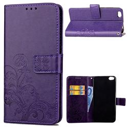 Embossing Imprint Four-Leaf Clover Leather Wallet Case for Xiaomi Mi 5c - Purple