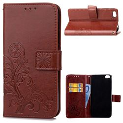 Embossing Imprint Four-Leaf Clover Leather Wallet Case for Xiaomi Mi 5c - Brown