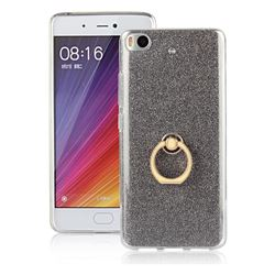 Luxury Soft TPU Glitter Back Ring Cover with 360 Rotate Finger Holder Buckle for Xiaomi Mi 5s - Black