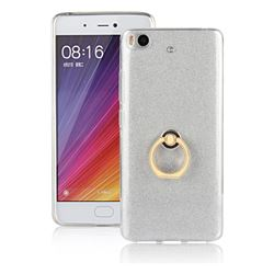 Luxury Soft TPU Glitter Back Ring Cover with 360 Rotate Finger Holder Buckle for Xiaomi Mi 5s - White