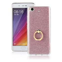 Luxury Soft TPU Glitter Back Ring Cover with 360 Rotate Finger Holder Buckle for Xiaomi Mi 5s - Pink