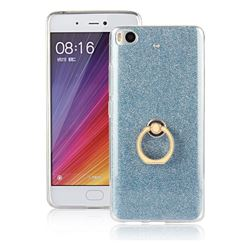 Luxury Soft TPU Glitter Back Ring Cover with 360 Rotate Finger Holder Buckle for Xiaomi Mi 5s - Blue