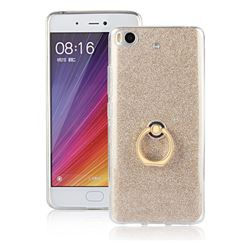 Luxury Soft TPU Glitter Back Ring Cover with 360 Rotate Finger Holder Buckle for Xiaomi Mi 5s - Golden
