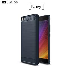 Luxury Carbon Fiber Brushed Wire Drawing Silicone TPU Back Cover for Xiaomi Mi 5s - Navy