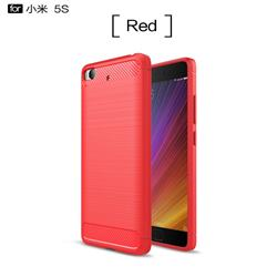 Luxury Carbon Fiber Brushed Wire Drawing Silicone TPU Back Cover for Xiaomi Mi 5s - Red