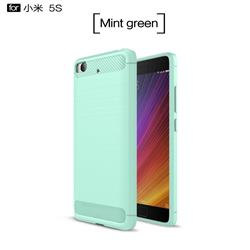 Luxury Carbon Fiber Brushed Wire Drawing Silicone TPU Back Cover for Xiaomi Mi 5s - Mint Green