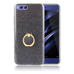 Luxury Soft TPU Glitter Back Ring Cover with 360 Rotate Finger Holder Buckle for Xiaomi Mi 6 Mi6 - Black