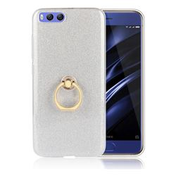 Luxury Soft TPU Glitter Back Ring Cover with 360 Rotate Finger Holder Buckle for Xiaomi Mi 6 Mi6 - White