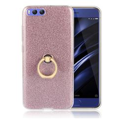 Luxury Soft TPU Glitter Back Ring Cover with 360 Rotate Finger Holder Buckle for Xiaomi Mi 6 Mi6 - Pink