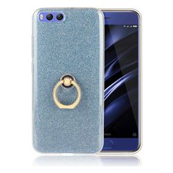 Luxury Soft TPU Glitter Back Ring Cover with 360 Rotate Finger Holder Buckle for Xiaomi Mi 6 Mi6 - Blue