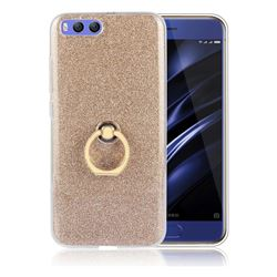 Luxury Soft TPU Glitter Back Ring Cover with 360 Rotate Finger Holder Buckle for Xiaomi Mi 6 Mi6 - Golden