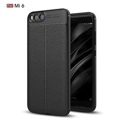 Luxury Auto Focus Litchi Texture Silicone TPU Back Cover for Xiaomi Mi 6 Mi6 - Black