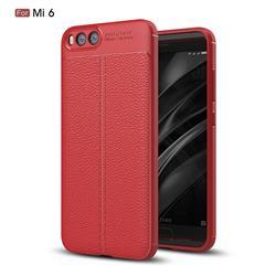 Luxury Auto Focus Litchi Texture Silicone TPU Back Cover for Xiaomi Mi 6 Mi6 - Red