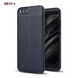 Luxury Auto Focus Litchi Texture Silicone TPU Back Cover for Xiaomi Mi 6 Mi6 - Dark Blue