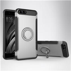 Armor Anti Drop Carbon PC + Silicon Invisible Ring Holder Phone Case for Xiaomi Mi 6 Mi6 - Silver