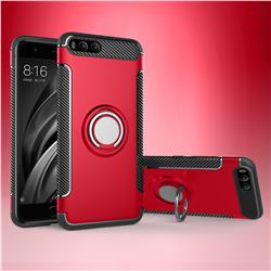 Armor Anti Drop Carbon PC + Silicon Invisible Ring Holder Phone Case for Xiaomi Mi 6 Mi6 - Red
